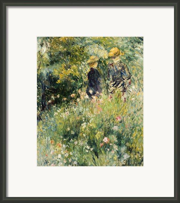Conversation In A Rose Garden Framed Print By Pierre Auguste Renoir
