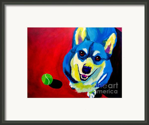 Corgi - Play Ball Framed Print By Alicia Vannoy Call