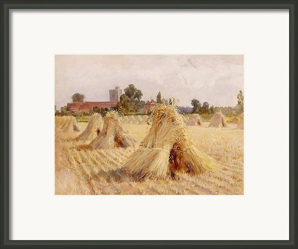 Corn Stooks By Bray Church Framed Print By Heywood Hardy