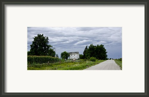 Corn Storm Clouds Horse Dirt Road Old House Framed Print By Wilma  Birdwell