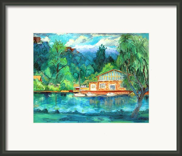Cornell Boathouse Framed Print By Ethel Vrana