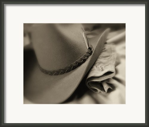 Cowboy Hat And Gloves Framed Print By Tom Mc Nemar