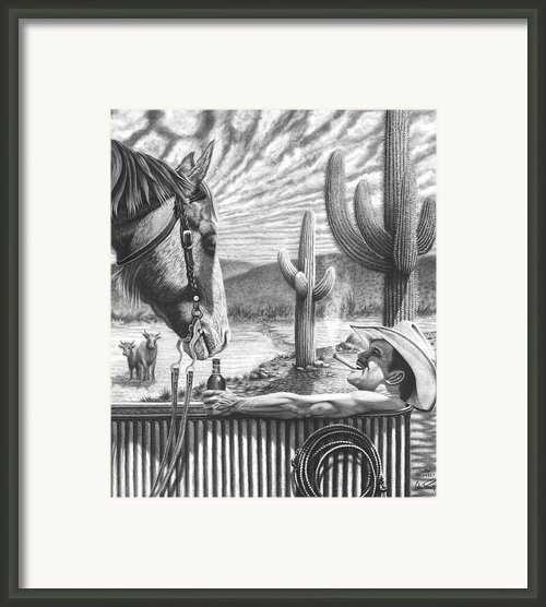 Cowboy Jacuzzi Framed Print By Glen Powell