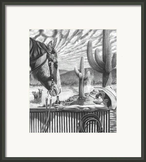 Cowboy Jacuzzi Framed Print By Glen Powell