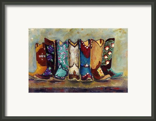 Cowgirls Kickin The Blues Framed Print By Frances Marino