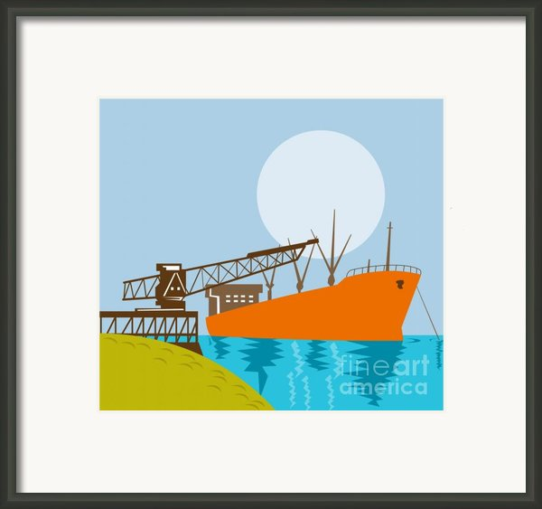 Crane Loading A Ship Framed Print By Aloysius Patrimonio