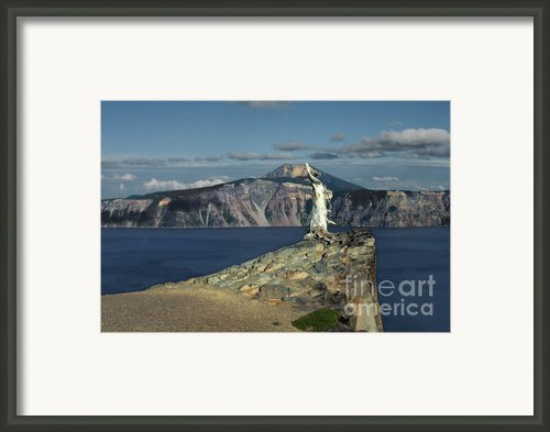 Crater Lake - A Most Sacred Place Among The Indians Of Southern Oregon Framed Print By Christine Till