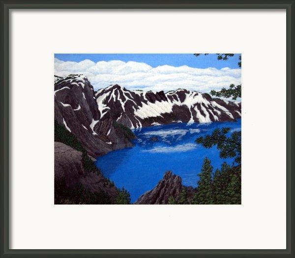 Crater Lake Framed Print By Frederic Kohli