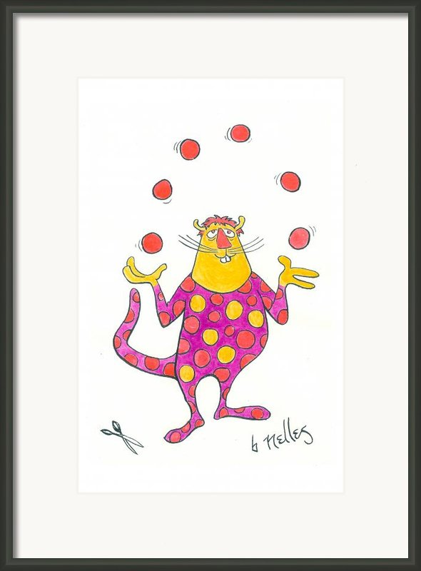 Creature Juggling Polka Dots Framed Print By Barry Nelles Art