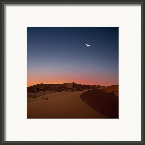 Crescent Moon Over Dunes Framed Print By Photo By John Quintero