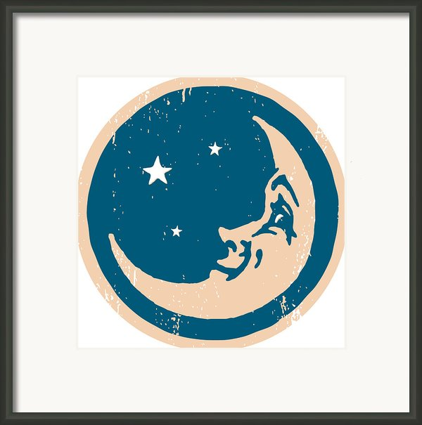 Crescent Shaped Moon With A Face Framed Print By Ken Jacobsen