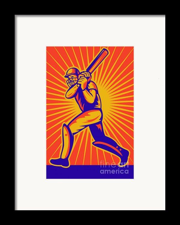 Cricket Sports Batsman Batting Framed Print By Aloysius Patrimonio