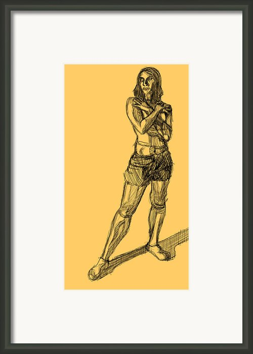 Crosshatched Figure Framed Print By Alex Johnson
