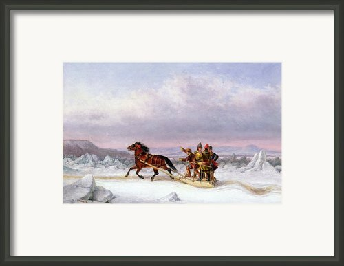 Crossing The Saint Lawrence From Levis To Quebec On A Sleigh Framed Print By Cornelius Krieghoff