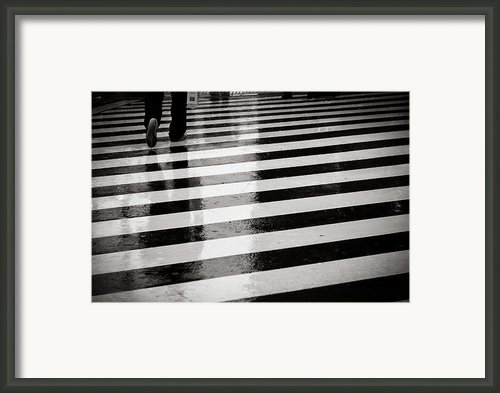 Crosswalk In Rain Framed Print By Photo By Jason Weddington