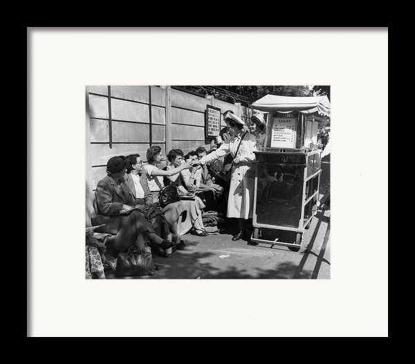 Crowd Refreshments Framed Print By Central Press
