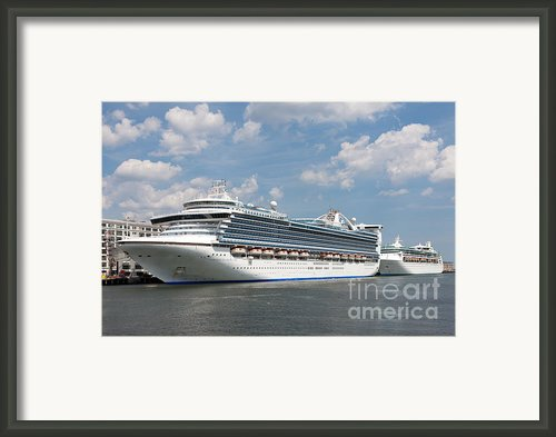 Cruise Ships At Cruiseport Boston Framed Print By Clarence Holmes