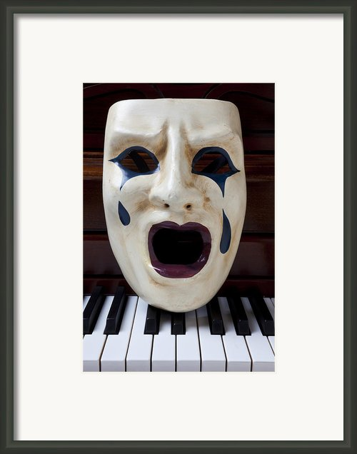Crying Mask On Piano Keys Framed Print By Garry Gay