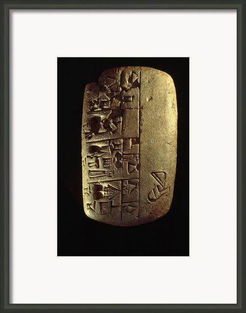 Cuneiform Writing Describes Commodities Framed Print By Lynn Abercrombie