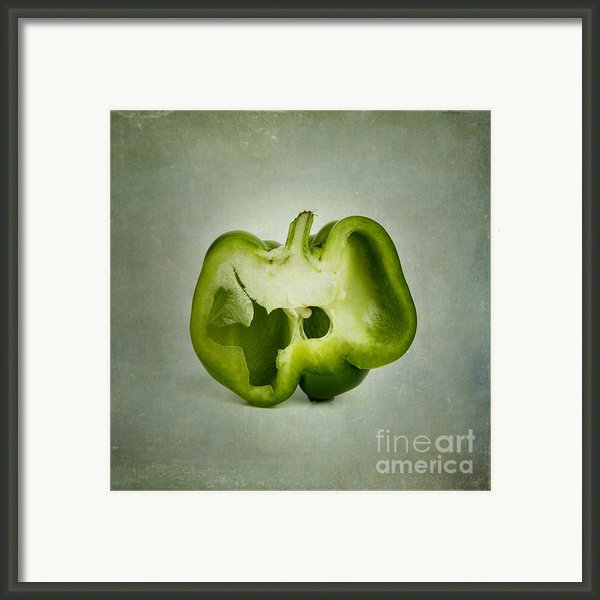 Cut Green Bell Pepper Framed Print By Bernard Jaubert