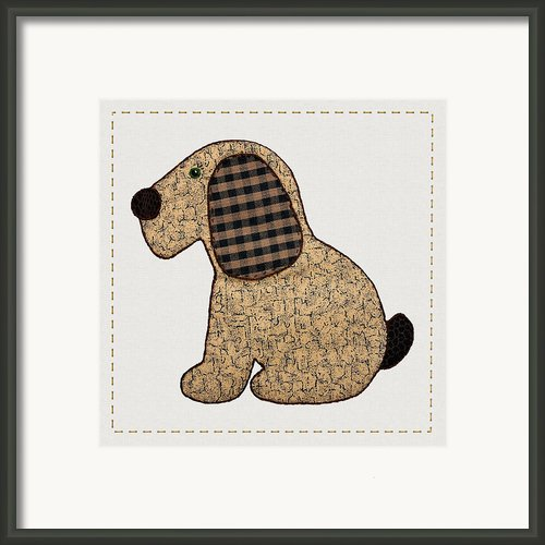 Cute Country Style Gingham Dog Framed Print By Tracie Kaska