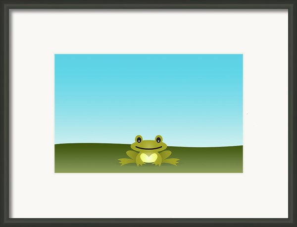 Cute Frog Sitting On The Grass Framed Print By © Roctopus
