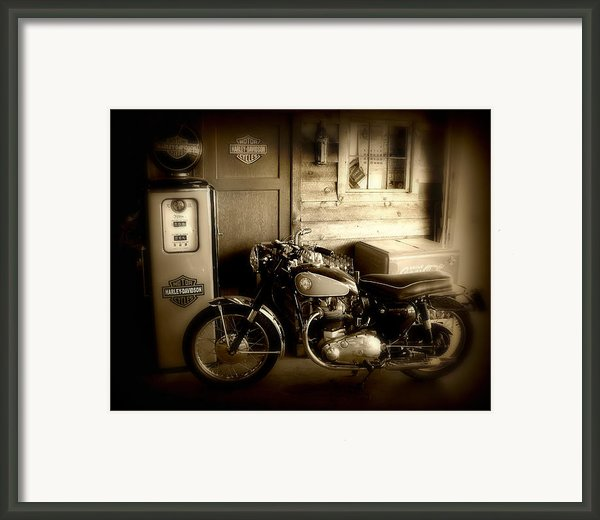 Cycle Garage Framed Print By Perry Webster