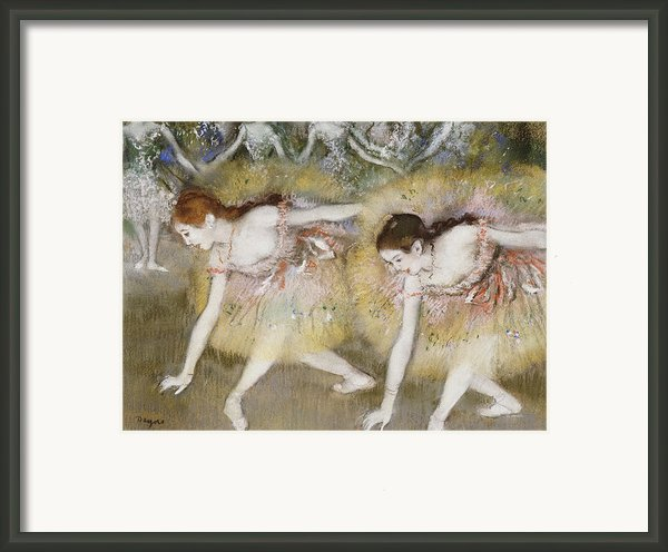 Dancers Bending Down Framed Print By Edgar Degas