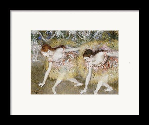 Dancers Bending Down Framed Print By Edgar Degas