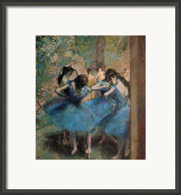 Dancers In Blue Framed Print By Edgar Degas