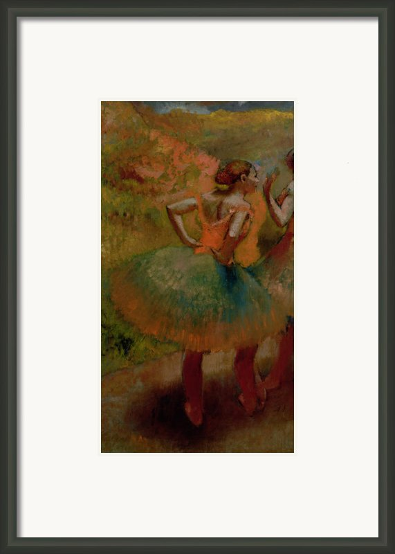 Dancers Wearing Green Skirts Framed Print By Edgar Degas