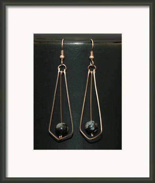 Dangle Earrings W Bead Framed Print By Alicia Short