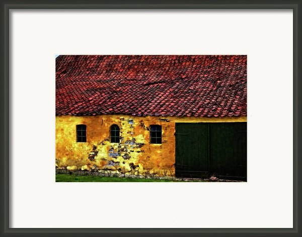 Danish Barn Watercolor Version Framed Print By Steve Harrington