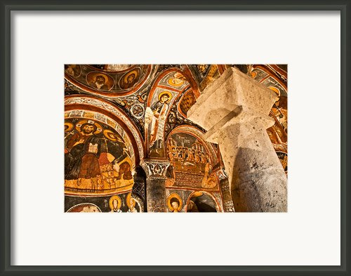 Dark Cave Church Byzantine Frescoes Framed Print By Denise Lett
