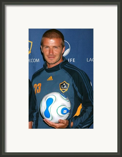 David Beckham At The Press Conference Framed Print By Everett