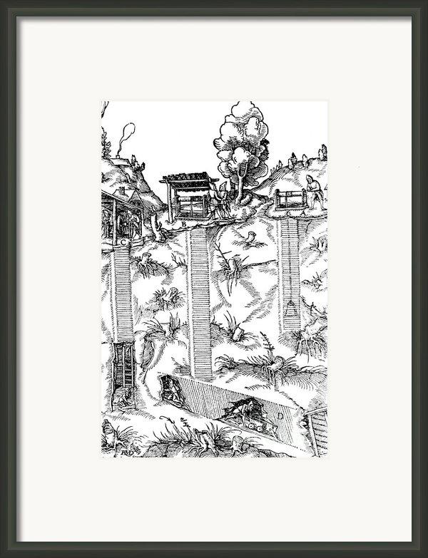 De Re Metallica, Mine Shafts, 16th Framed Print By Science Source