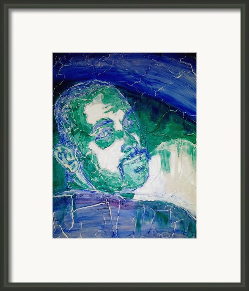 Death Metal Portrait In Blue And Green With Fu Man Chu Mustache And Cracking Textured Canvas Framed Print By M Zimmerman
