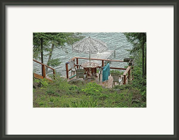 Deck At Blue Sea Lake Framed Print By Ginette Thibault