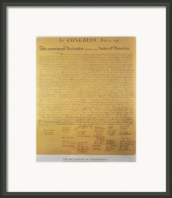 Declaration Of Independence Framed Print By American School