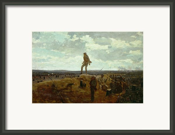 Defiance - Inviting A Shot Before Petersburg Framed Print By Winslow Homer