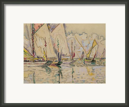Departure Of Tuna Boats At Groix Framed Print By Paul Signac