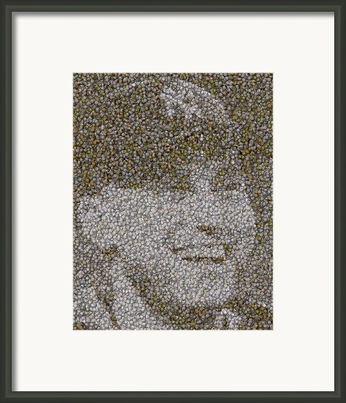 Derek Jeter Baseballs Mosaic Framed Print By Paul Van Scott