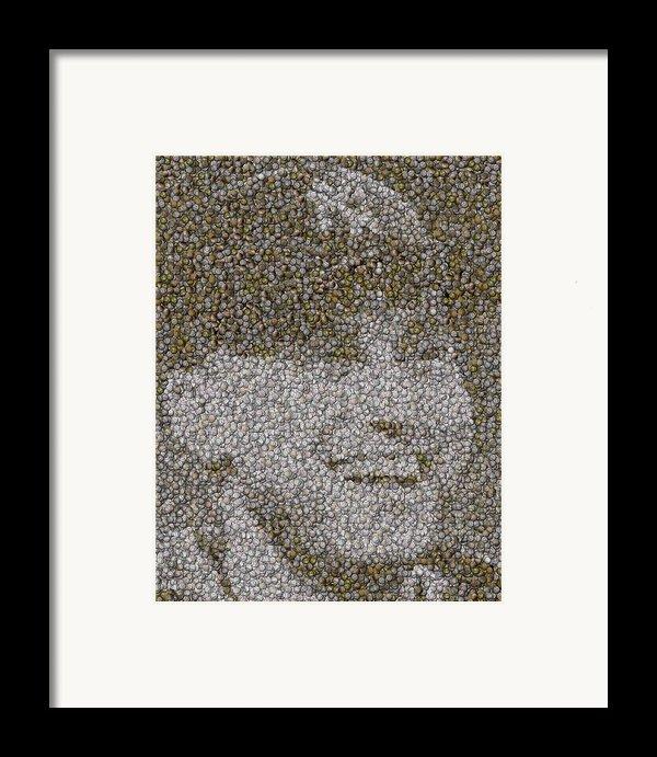 Derek Jeter Baseballs Mosaic Framed Print By Paul Van Scott