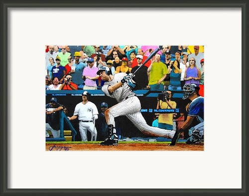 Derek Jeter Delivers The 3000th Hit - Yankee Stadium - July 9th 2011 Framed Print By Dan Haraga