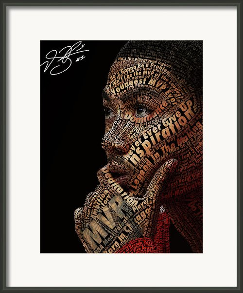 Derrick Rose Typeface Portrait Framed Print By Dominique Capers