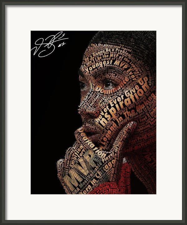 Derrick Rose Typeface Portrait Framed Print By Dominique Capers