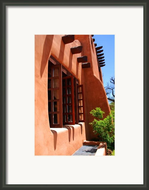 Detail Of A Pueblo Style Architecture In Santa Fe Framed Print By Susanne Van Hulst