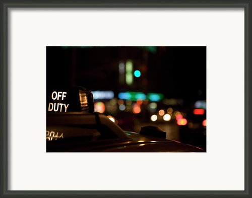 Detail Of A Taxi At Night, New York City, Usa Framed Print By Frederick Bass