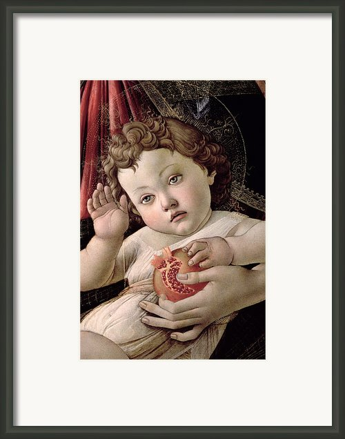 Detail Of The Christ Child From The Madonna Of The Pomegranate  Framed Print By Sandro Botticelli