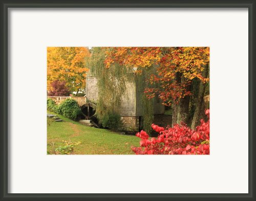 Dexter Grist Mill Autumn Framed Print By John Burk